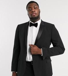 Черный приталенный пиджак-смокинг ASOS DESIGN Plus