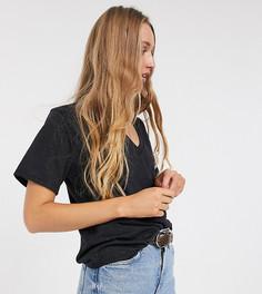 Черная футболка прямого кроя с V-образным вырезом ASOS DESIGN Tall-Черный