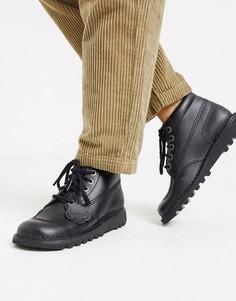 Черные высокие кожаные ботинки на плоской подошве Kickers-Черный