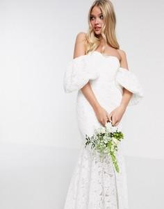 Кружевное свадебное платье с открытыми плечами ASOS EDITION-Белый