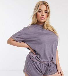Трикотажная пижамная футболка ASOS DESIGN Curve mix & match-Розовый