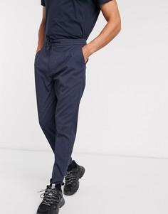 Темно-синие узкие брюки в клетку Celio-Темно-синий