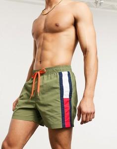 Шорты для плавания средней длины цвета хаки с логотипом Tommy Hilfiger-Зеленый
