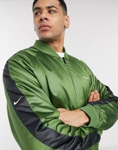 Двусторонний бомбер с логотипом-галочкой (зеленый/черный) Nike