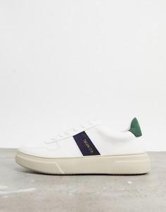 Белые кроссовки с синими полосками Topman-Белый