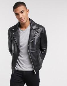 Кожаная байкерская куртка Barneys Originals-Черный