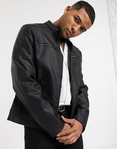 Черная стеганая куртка из искусственной кожи ASOS DESIGN-Черный