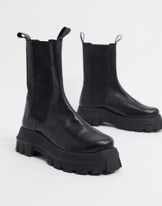 Черные кожаные ботинки челси на массивной подошве ASOS DESIGN-Черный