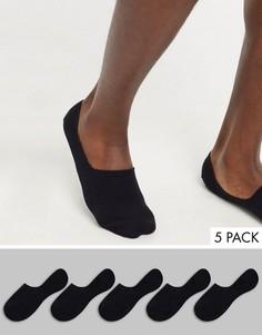 Набор из 5 пар черных невидимых носков Topman-Черный