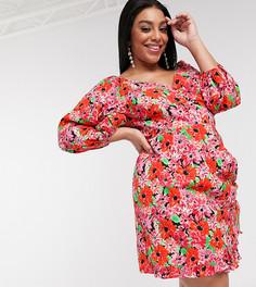 Хлопковое платье мини из поплина с запахом и ярким цветочным принтом ASOS DESIGN Curve-Мульти