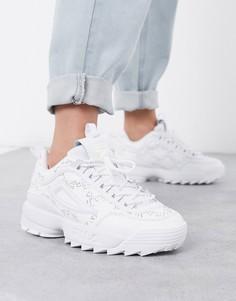 Белые бархатные кроссовки со стразами Fila Disruptor II-Белый