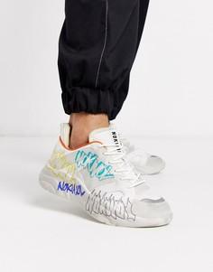 Белые кроссовки на массивной подошве с принтом-граффити Nokwol-Белый
