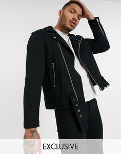 Хлопковая байкерская куртка черного цвета Reclaimed Vintage-Черный