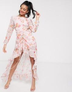 Светло-розовое платье макси с принтом, вырезом на спине и асимметричным краем Dark Pink-Розовый