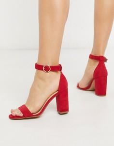 Красные босоножки на блочном каблуке Pimkie-Красный