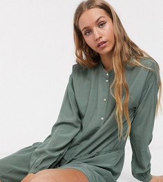 Ярусное платье-рубашка мини без воротника цвета хаки Vero Moda Tall-Зеленый