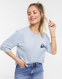 Голубая короткая футболка с рукавами длиной до локтя Quiksilver-Белый