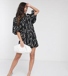Черное приталенное платье с объемными рукавами и шнуровкой на спине Vero Moda Petite-Мульти