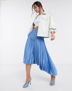 Голубая плиссированная юбка миди с пуговицами Stradivarius-Синий