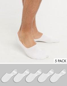 Набор из 5 пар белых невидимых носков Topman-Белый