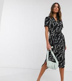 Черное платье-рубашка миди с принтом и поясом Vero Moda Tall-Мульти