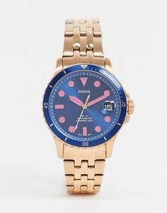 Золотисто-розовые наручные часы с синим циферблатом Fossil fb-01 ES4767-Розовый