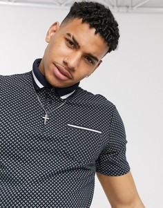 Темно-синее поло с геометрическим принтом Burton Menswear-Темно-синий
