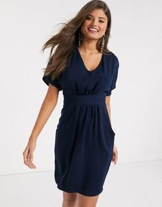 Темно-синее платье мини с короткими рукавами Closet London-Темно-синий