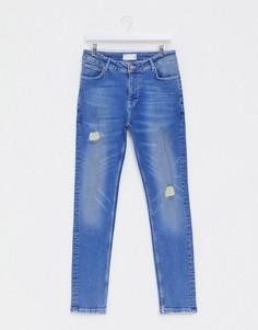 Ярко-синие джинсы скинни с состаренной отделкой ASOS DESIGN-Синий