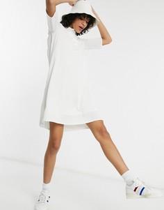 Белое платье с плиссированной вставкой Lacoste-Белый