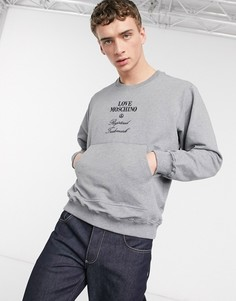 Свитшот с круглым вырезом и вышивкой Love Moschino-Серый