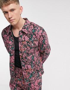 Коралловая джинсовая куртка с принтом Obey-Розовый