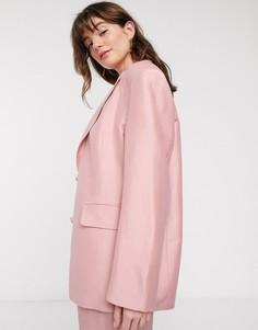 Светло-розовый льняной пиджак в стиле oversized от & Other Stories