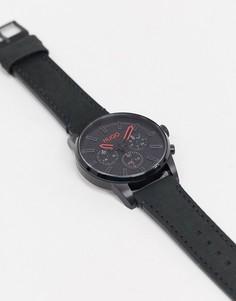Часы с черным кожаным ремешком HUGO 1530149-Черный
