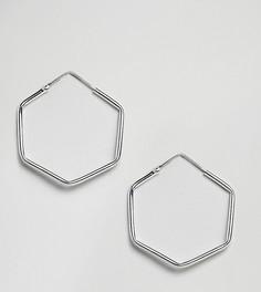 Серебряные шестиугольные серьги-кольца Kingsley Ryan-Серебряный