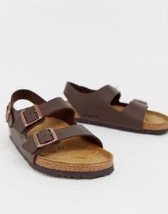 Темно-коричневые сандалии Birkenstock Milano Birko-Flor-Коричневый