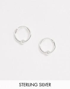 Серебряные маленькие серьги-кольца Kingsley Ryan-Серебряный