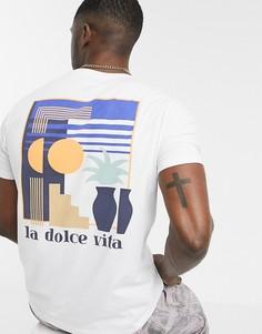 Белая футболка с вышивкой на груди и принтом на спине Celio-Белый