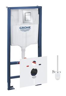 Комплект 6 в 1 для подвесного унитаза GROHE Rapid SL: инсталляция, крепление, панель смыва, шумоизоляция, ершик (39502000)