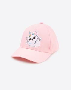 Розовая бейсболка с котиком для девочки Gloria Jeans