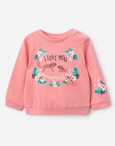 Розовый свитшот с рисунком для малышки Gloria Jeans