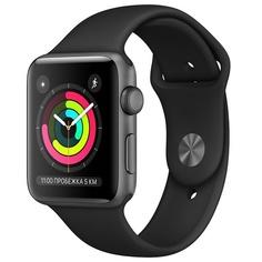 Смарт-часы Apple Watch Series 3 38 мм серый космос, спортивный ремешок