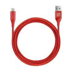 Кабель Lenzza Nylon Braided Kevlar Cable, Lightning,1.2m Red