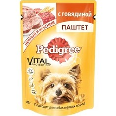 Паучи Pedigree Vital Protection паштет с говядиной для собак мелких пород 80г (10131648)