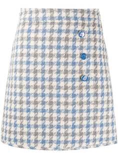 Sandro Paris твидовая юбка Calia в ломаную клетку