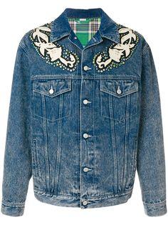 Gucci джинсовая куртка с цветочной аппликацией