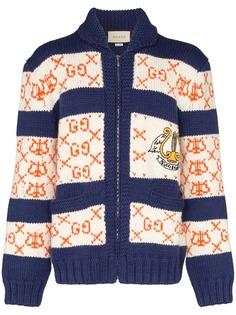 Gucci полосатый кардиган вязки интарсия с узором GG