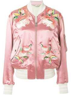 Gucci куртка-бомбер с цветочной вышивкой