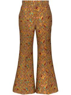Gucci жаккардовые расклешенные брюки с цветочным узором и логотипом