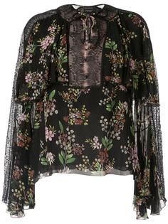 Giambattista Valli блузка с кружевными вставками и цветочным принтом